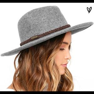 Grey wool fedora hat